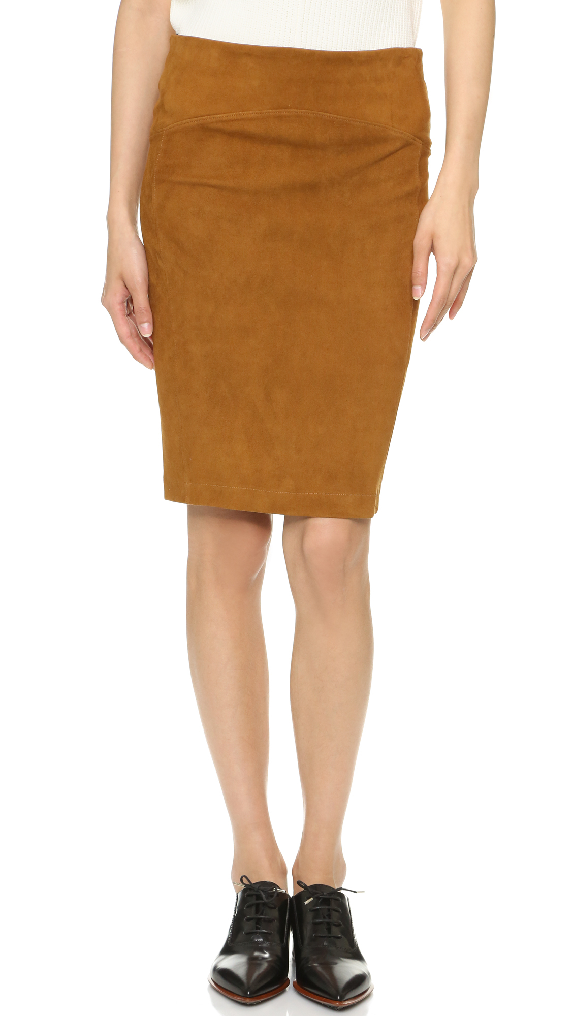 getting back to square one suede above the knee skirt in