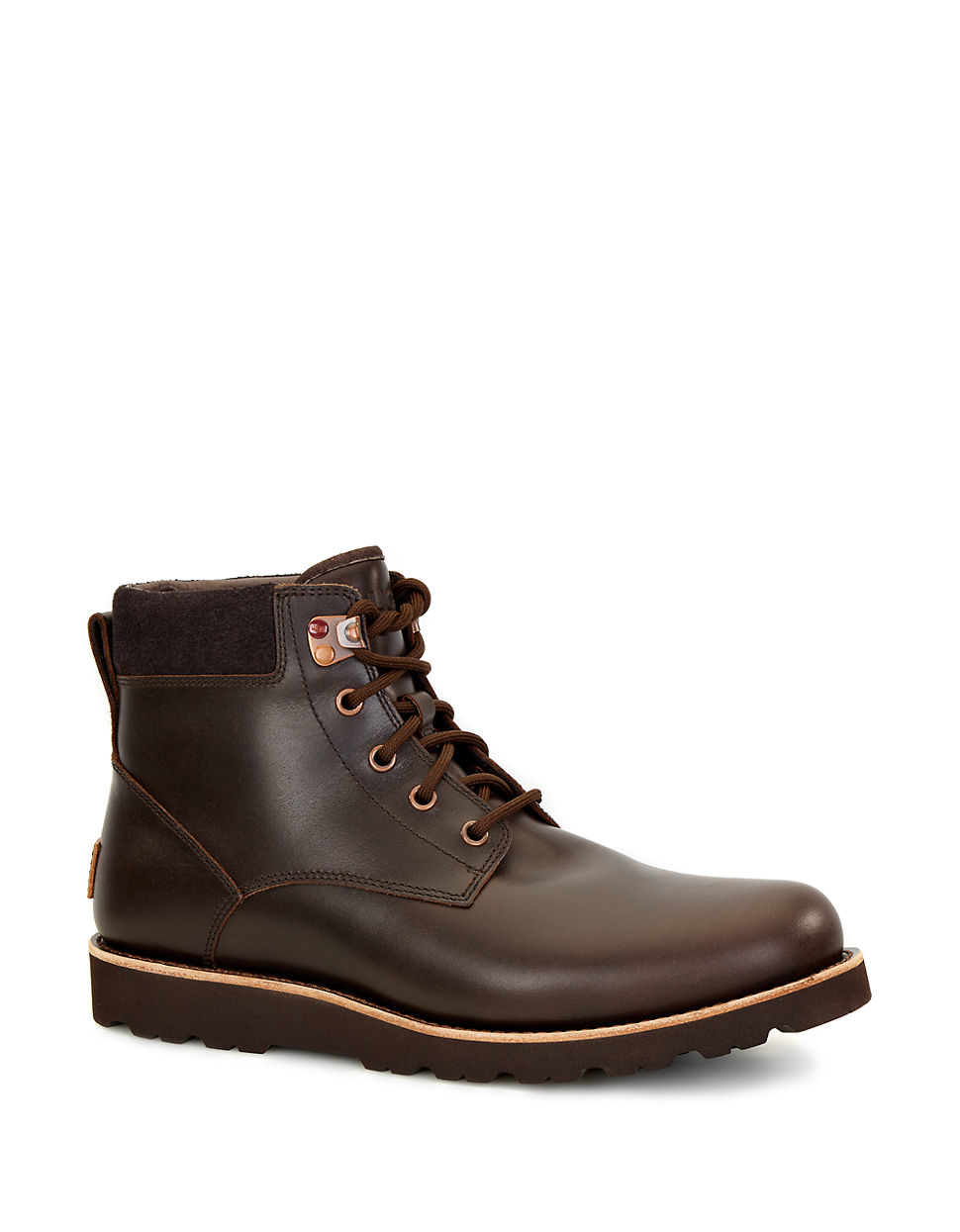 ugg brown seton shearling lined leather utility boots