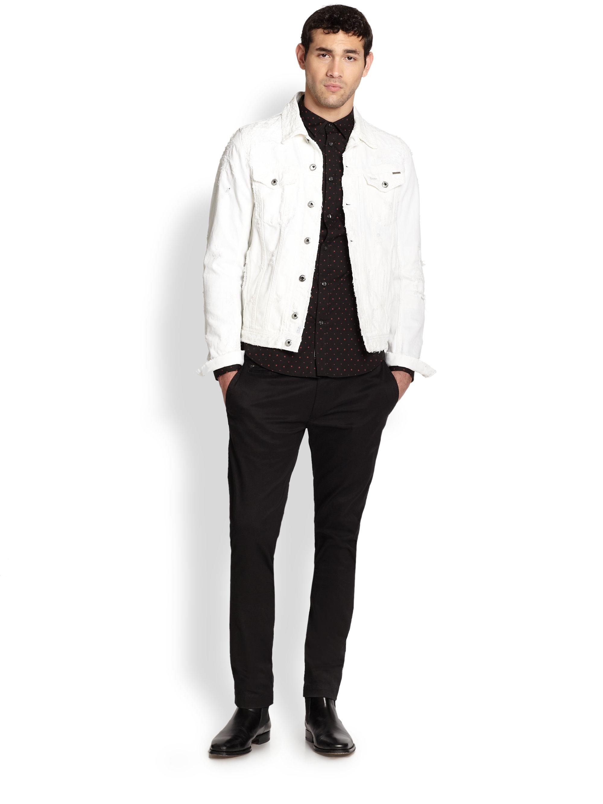White Jean Jacket Mens | Outdoor Jacket