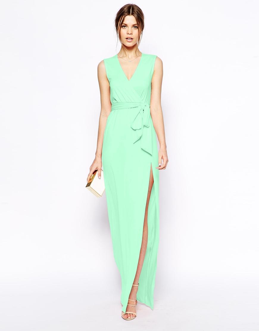 Asos Sleeveless Wrap Maxi Dress In Green Lyst
