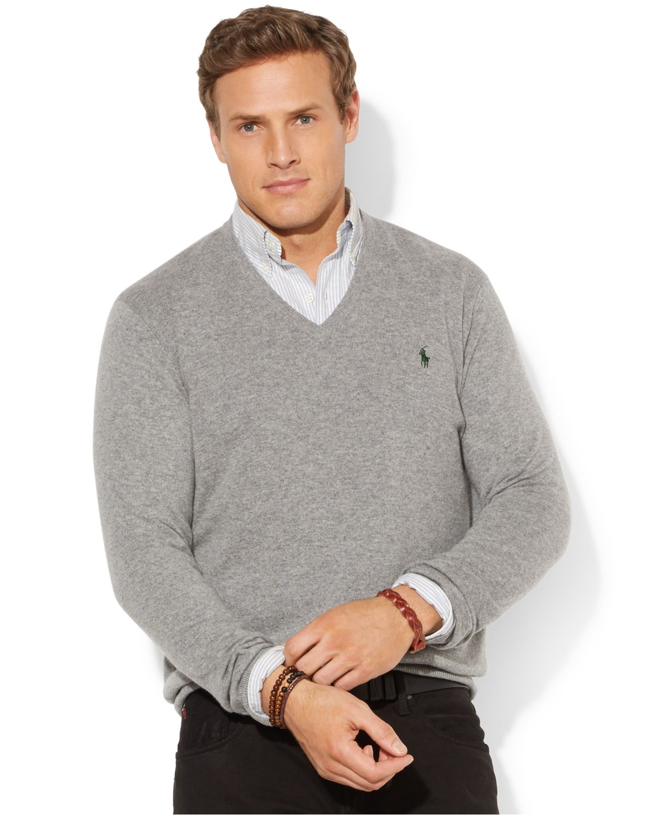 62a18747e1a2 Lyst - Polo Ralph Lauren Big And Tall Merino Wool V-Neck Sweater in ...