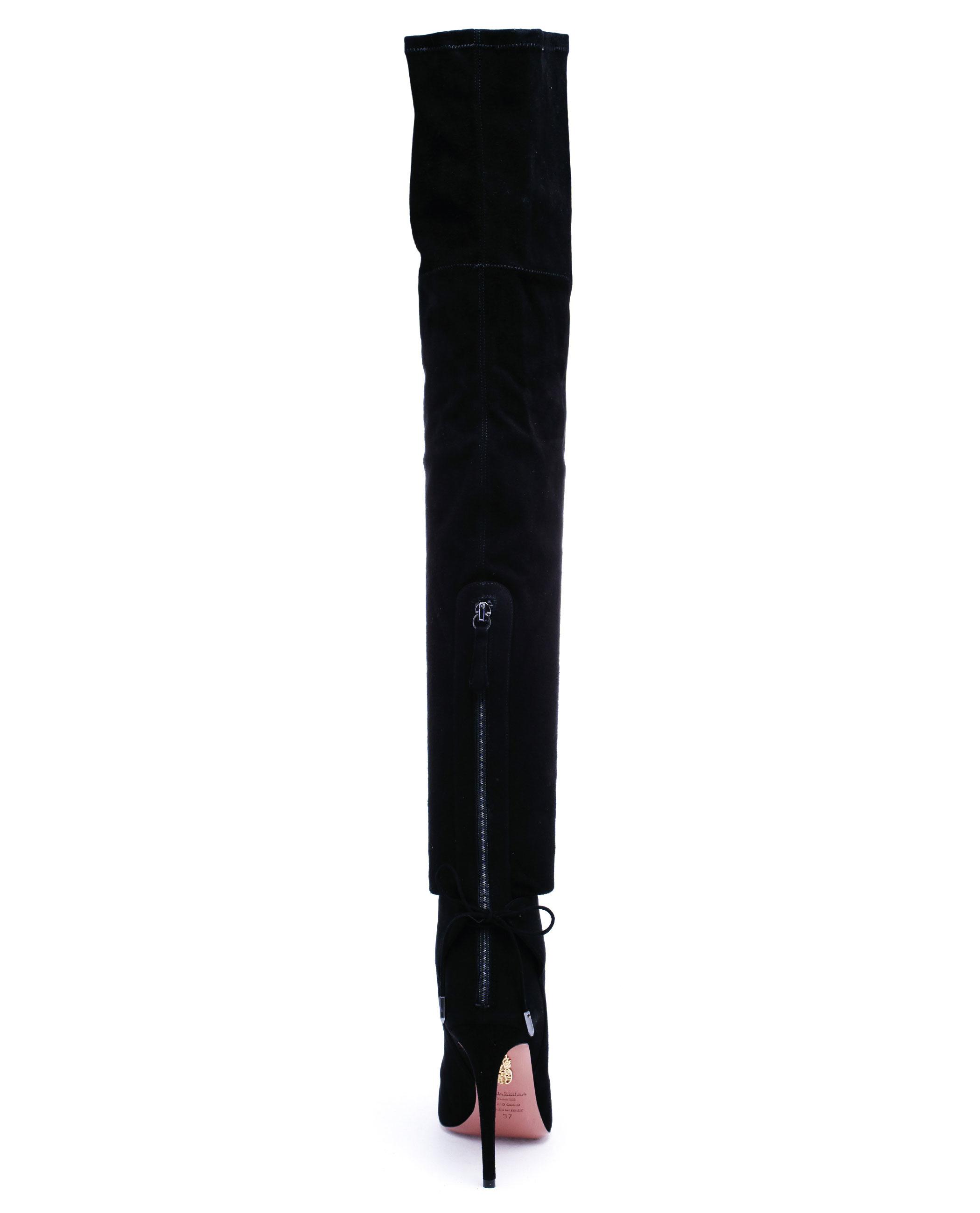 945b29e714d Aquazzura Black Giselle Cuissard Thigh High Suede Boots