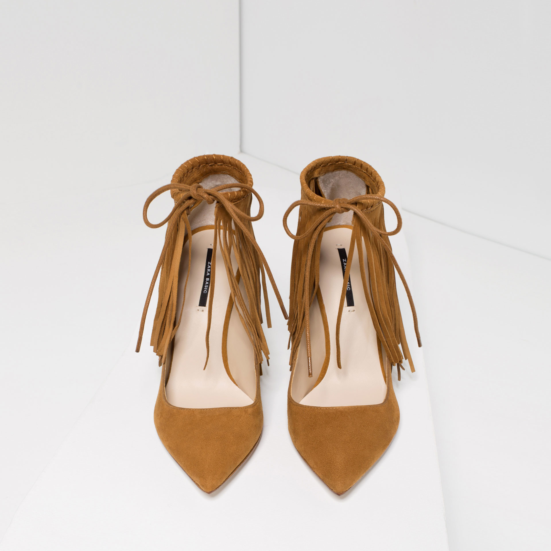 Goat leather work gloves - Zara Multicolor Fringed Leather High Heel Shoes Lyst