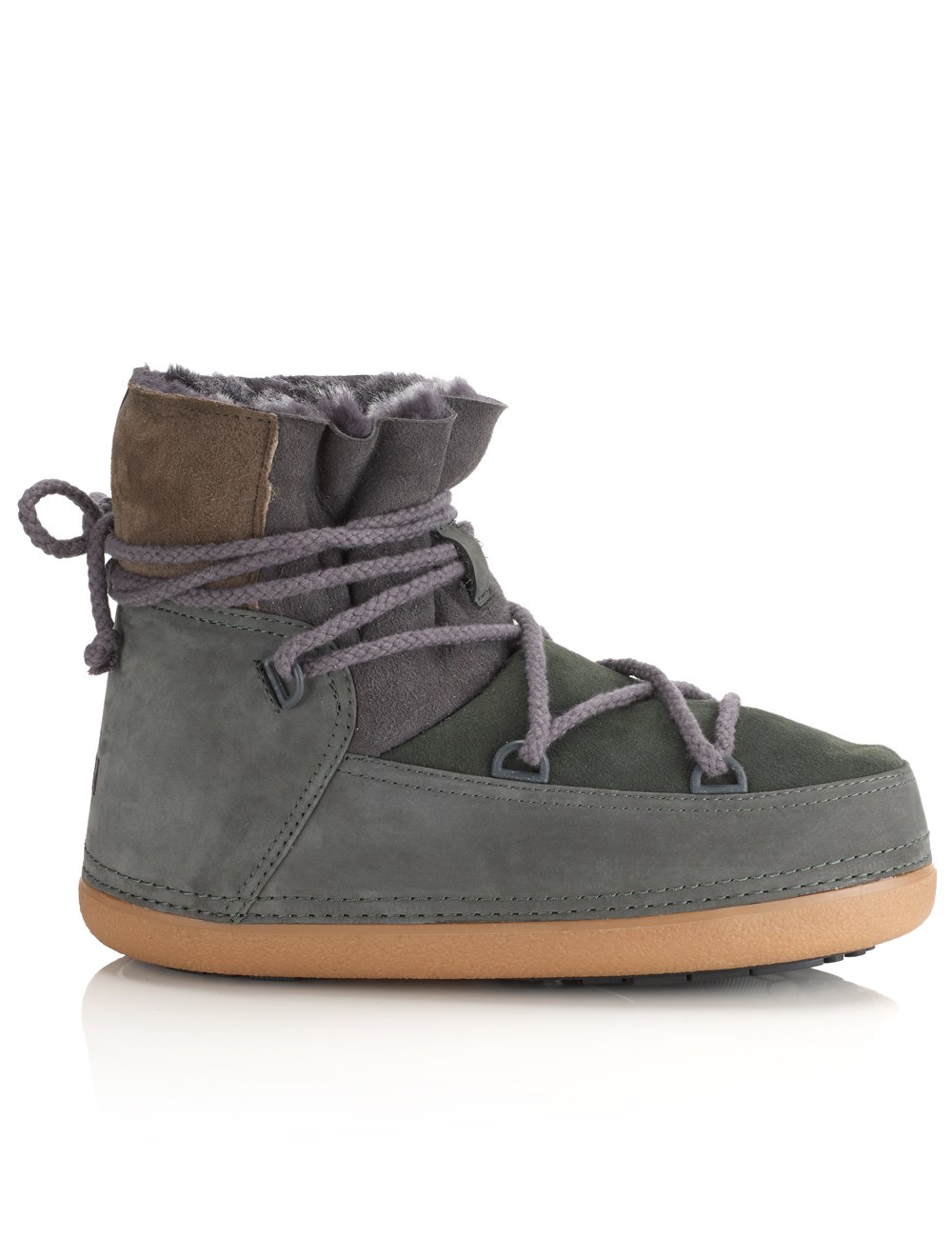 ikkii khaki green suede snow boots in green lyst