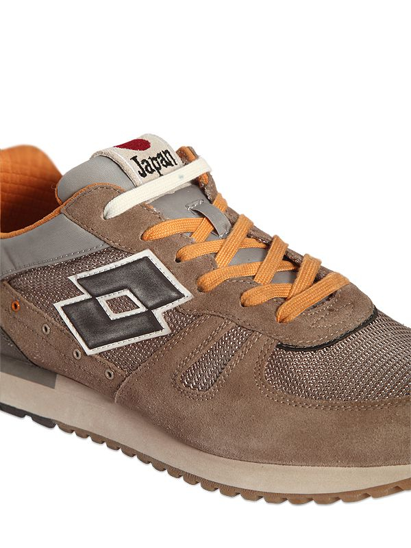 Lotto Leggenda Tokyo Suede Amp Mesh Sneakers In Brown Grey