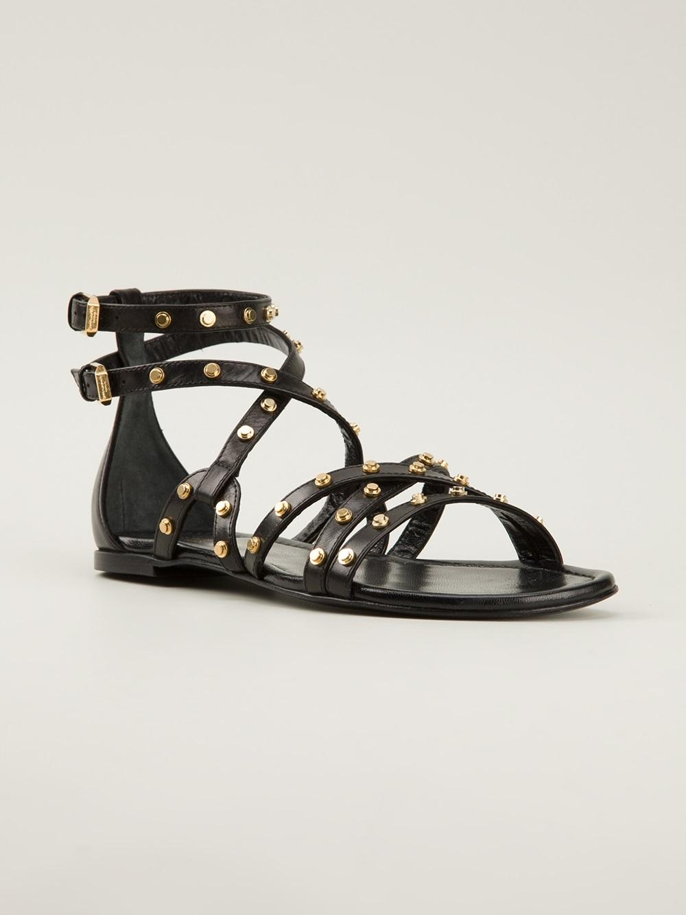 Saint Laurent Studded Flat Sandals in