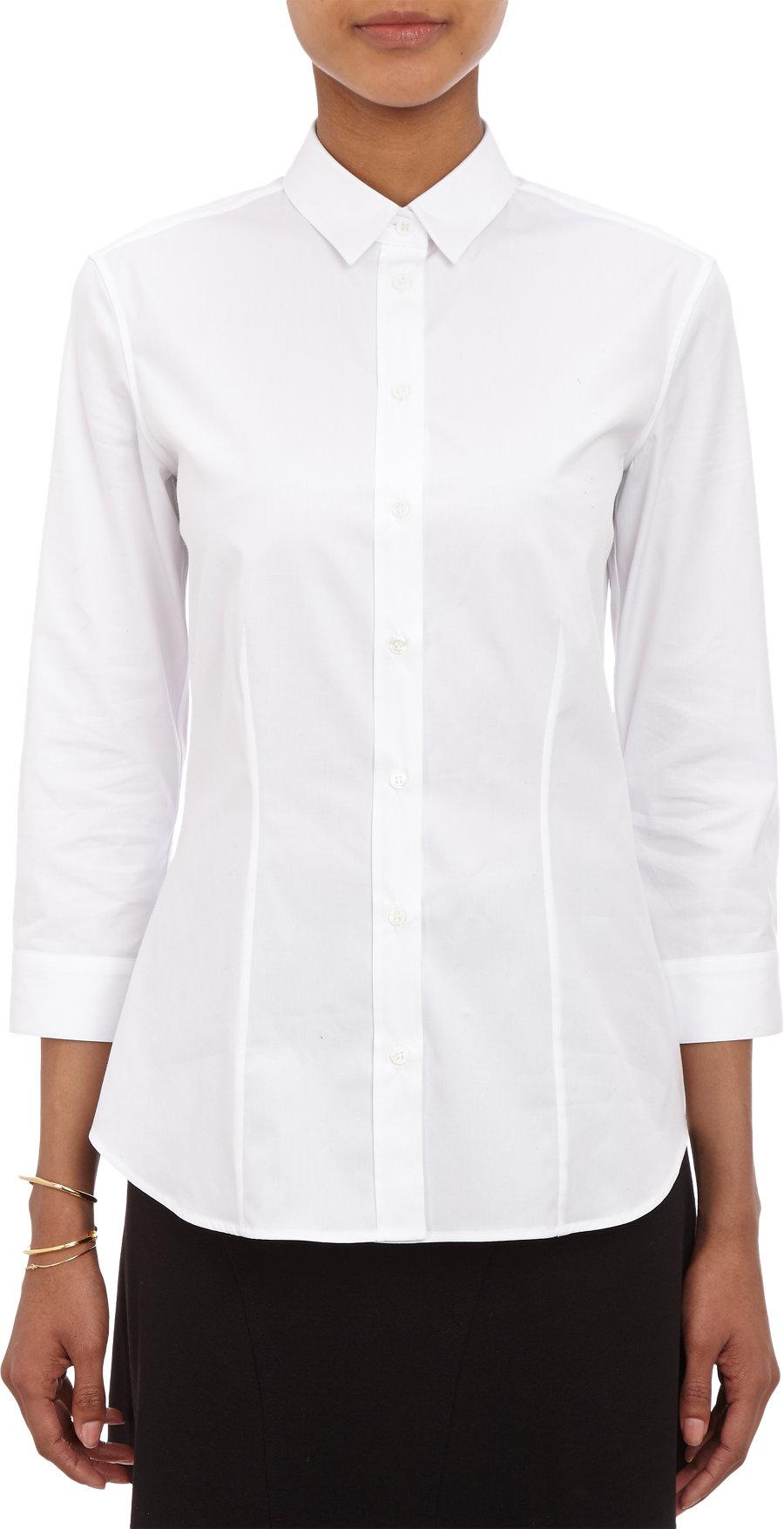 Barneys new york three quarter length sleeve shirt in for Three quarter length shirt