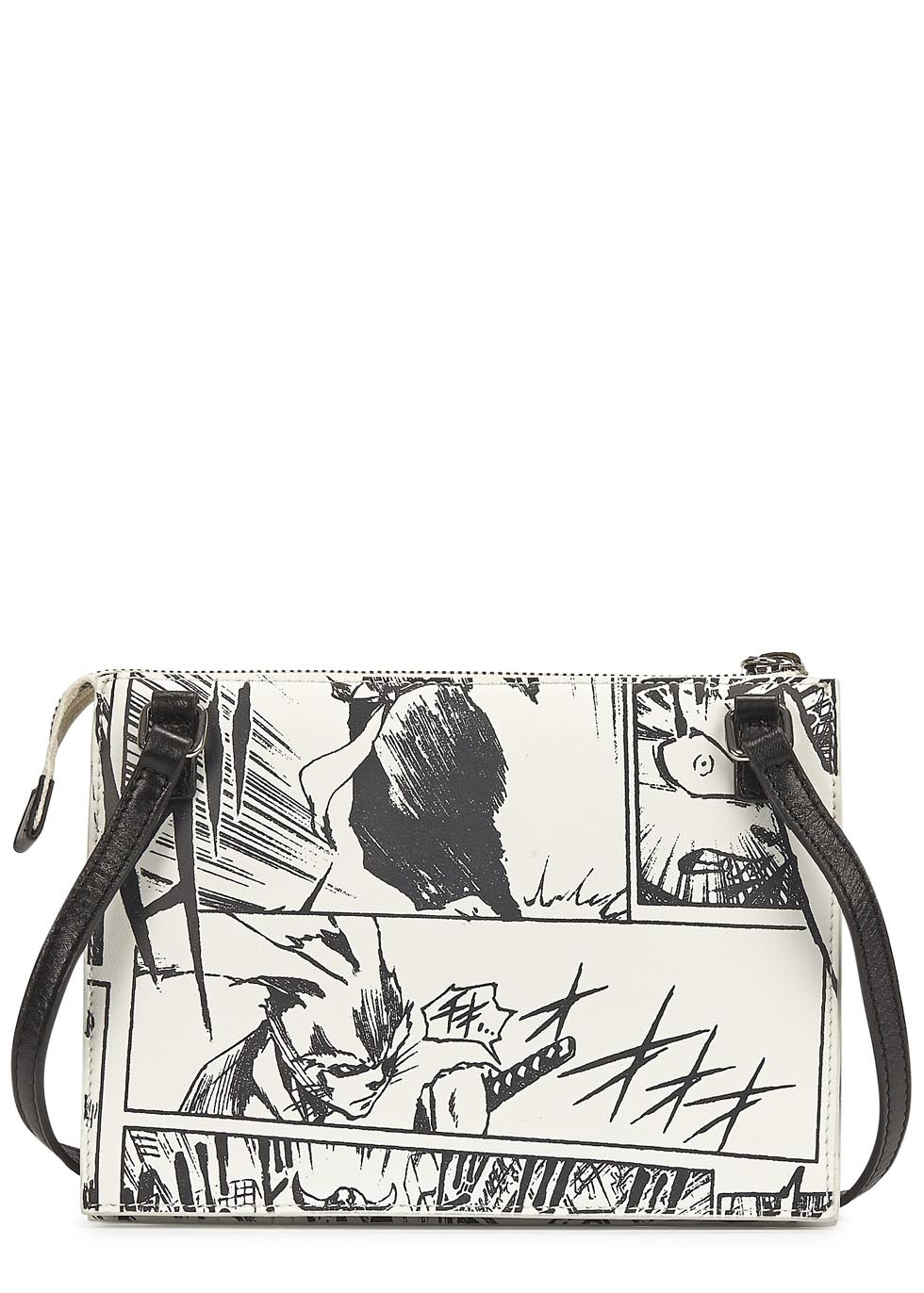 McQ Monochrome Manga Print Cross-Body Bag in Black