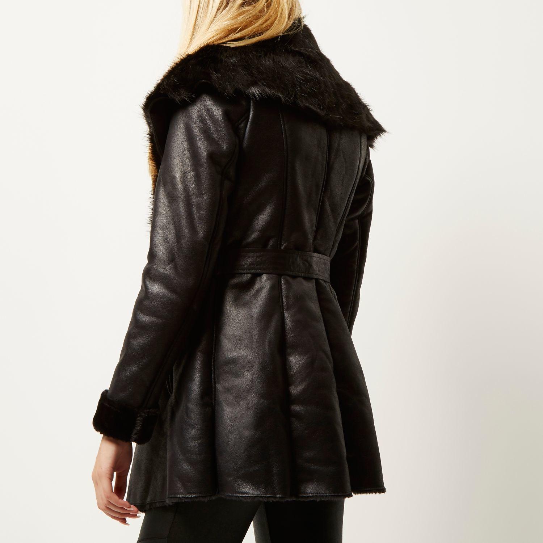 Black faux suede belted coat