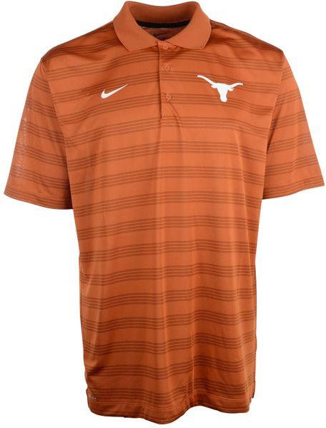 Nike men 39 s texas longhorns dri fit preseason polo shirt in for Texas a m golf shirt