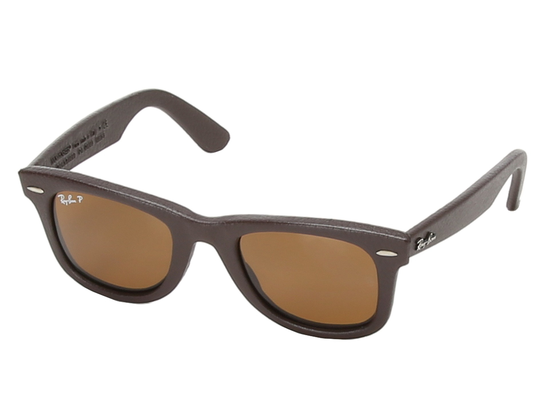 ray ban rb2140 leather wrapped wayfarer polarized 50mm in brown brown leather lyst. Black Bedroom Furniture Sets. Home Design Ideas
