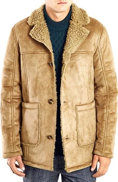 Topman Faux Shearling Coat in Brown for Men | Lyst