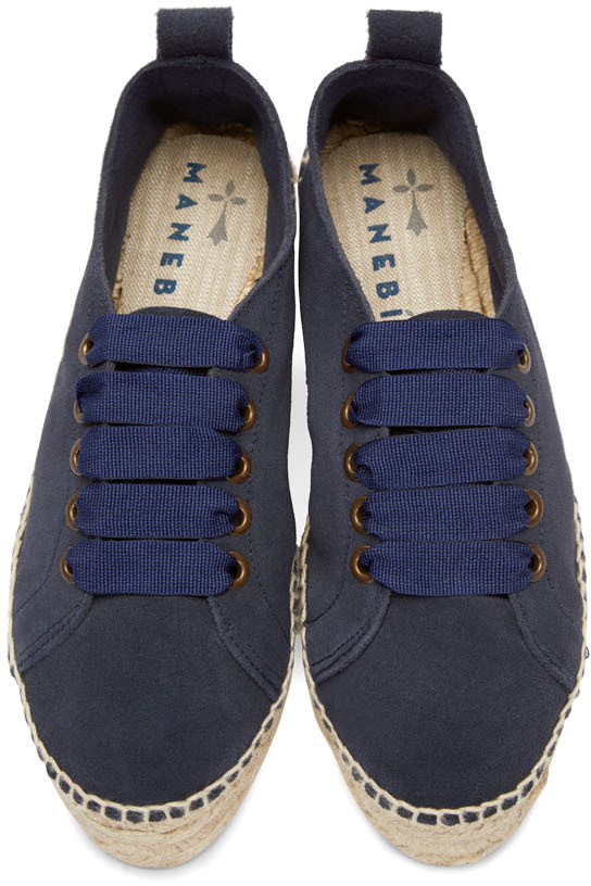 Lyst Maneb 237 Navy Suede Lace Up Hamptons Espadrilles In Blue