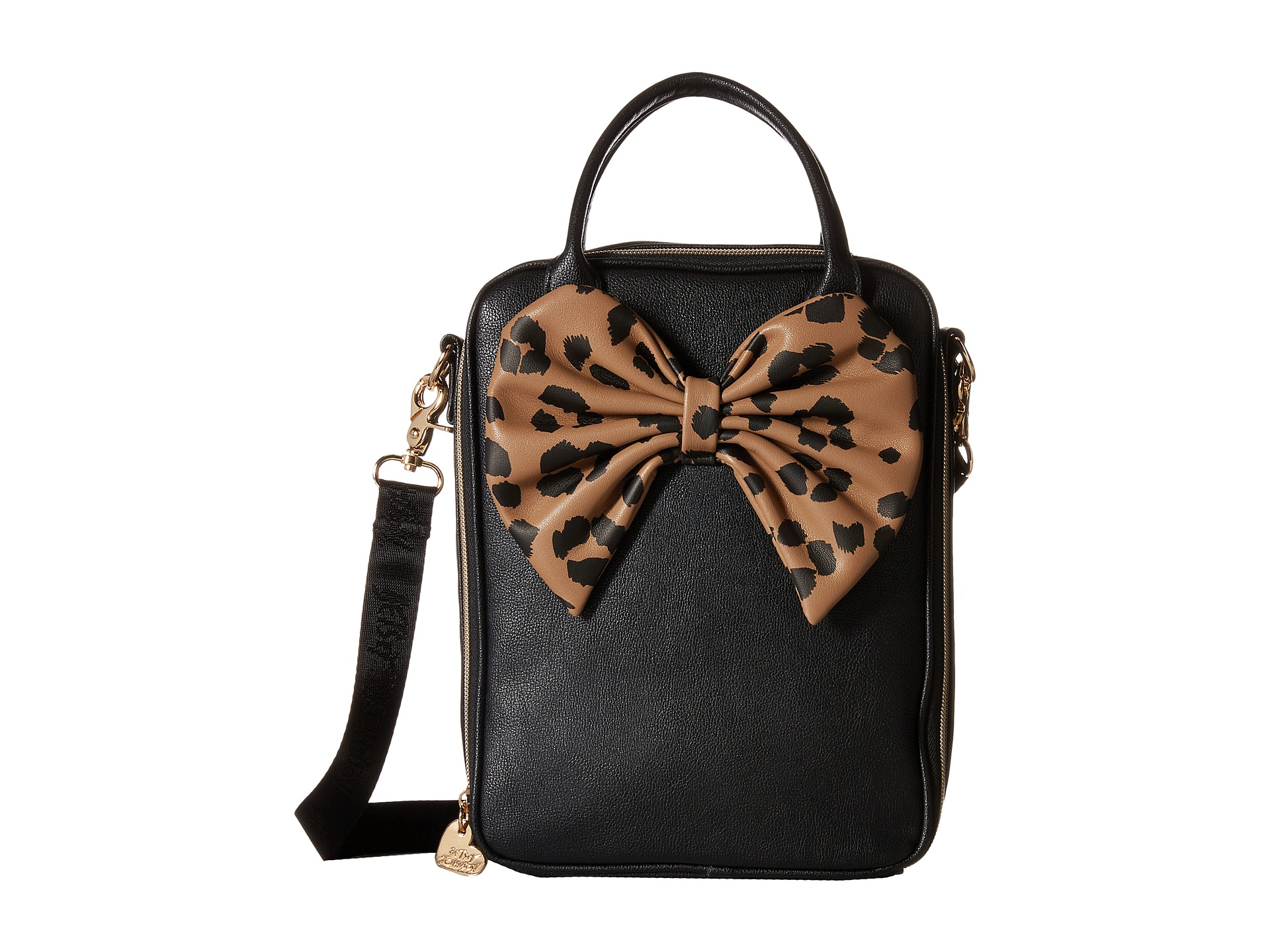 Betsey Johnson Bow Tails Lunch Tote In Black Leopard Lyst