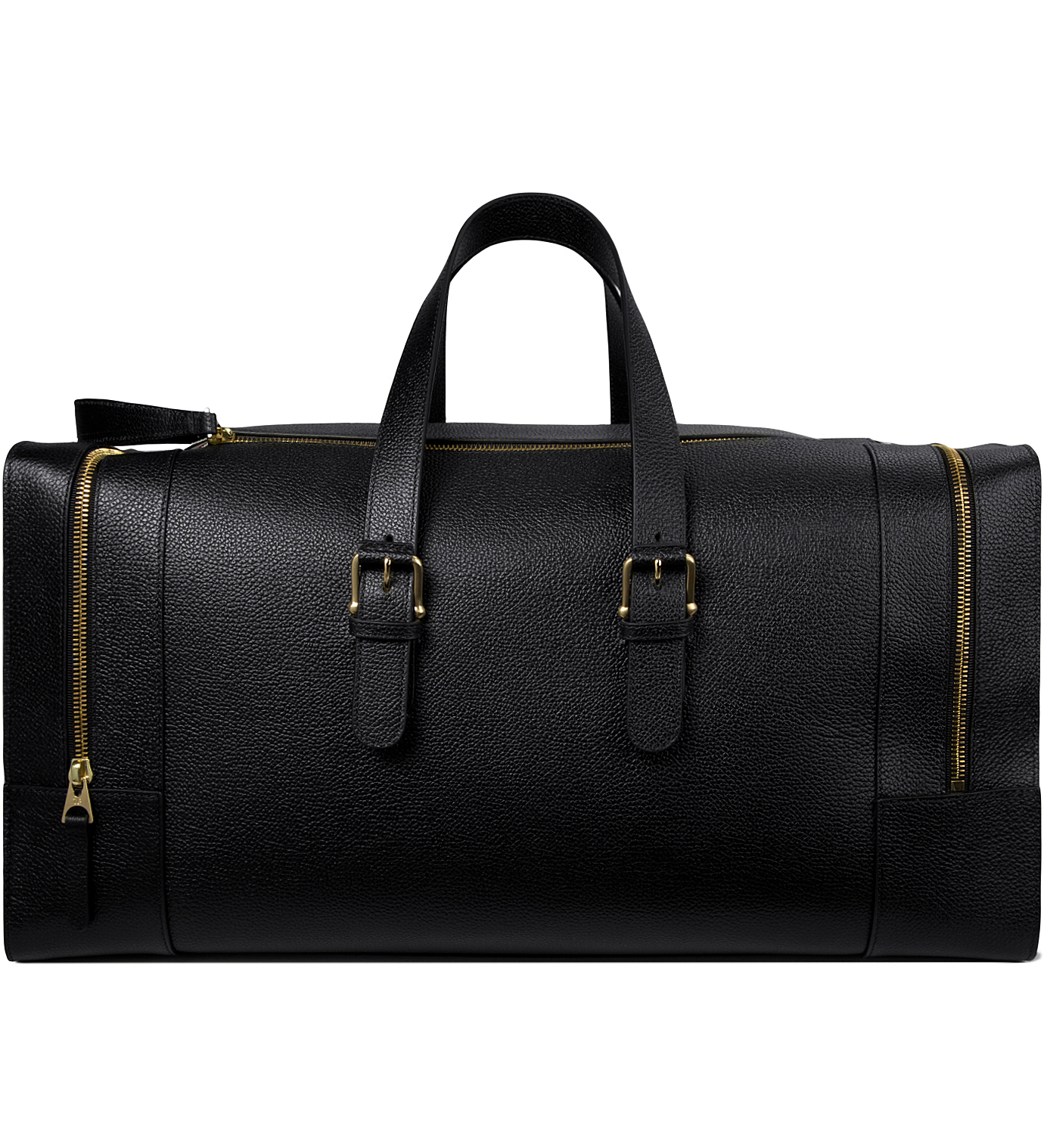 Thom Browne Black Grained Leather Duffle Bag In Black For