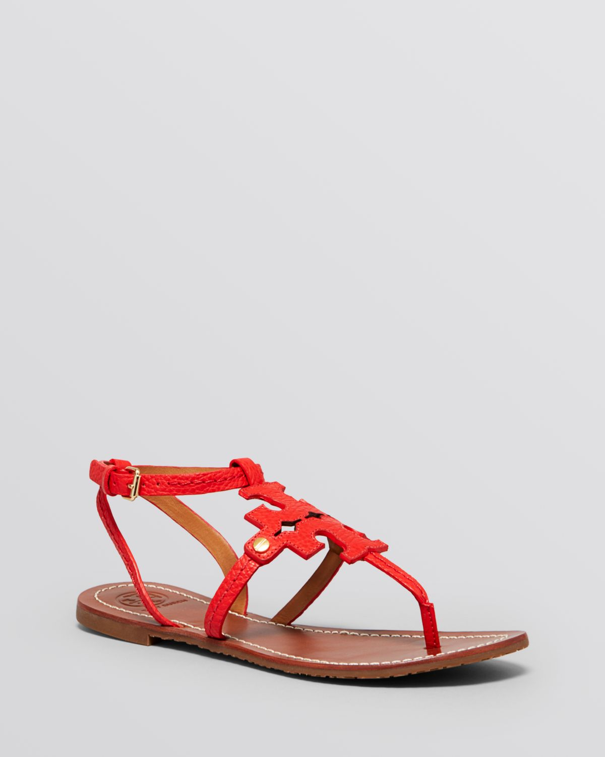 effd3c413 Tory Burch Flat Thong Sandals - Chandler Logo in Red - Lyst