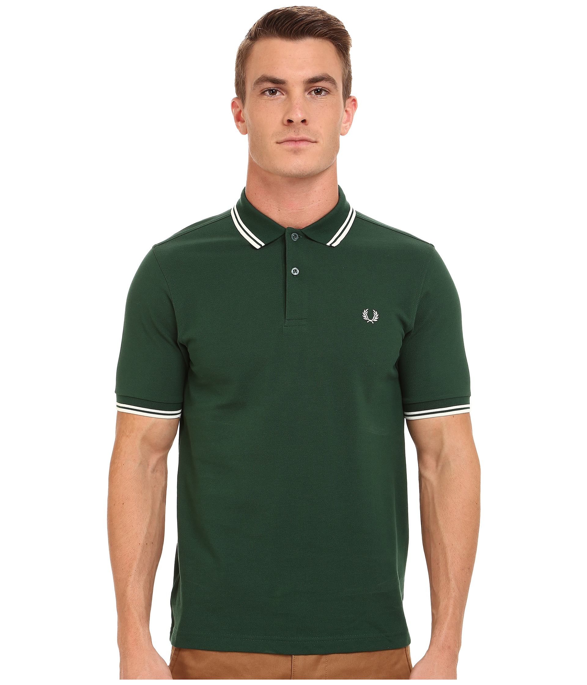 fred perry slim fit twin tipped polo in green for men ivy. Black Bedroom Furniture Sets. Home Design Ideas