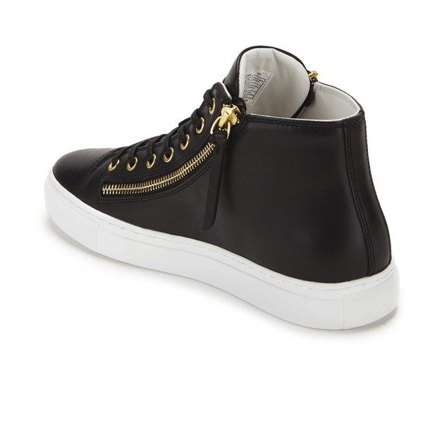 a33b3045997c HUGO Women s Nycolette-l Leather Hi-top Trainers in Black - Lyst