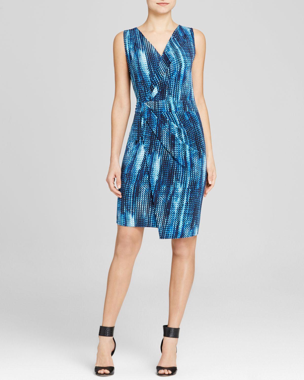 T Tahari Lynlee Faux Wrap Dress In Navy Blue Lyst