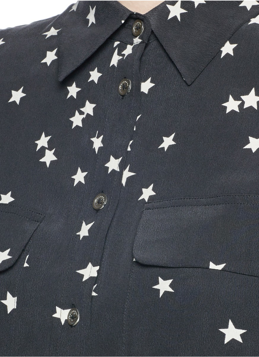 fd681d883f2f5 Lyst - Equipment  slim Signature  Star Print Silk Shirt in Black
