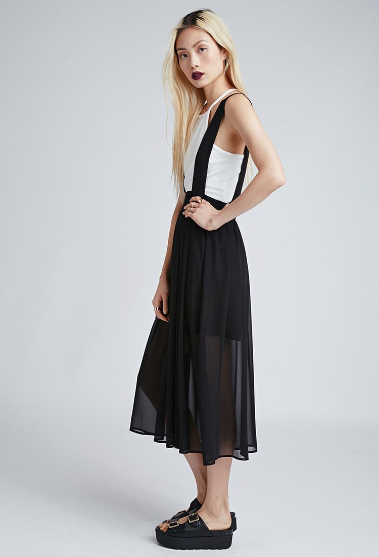 Lyst Forever 21 Chiffon Suspender Midi Skirt In Black