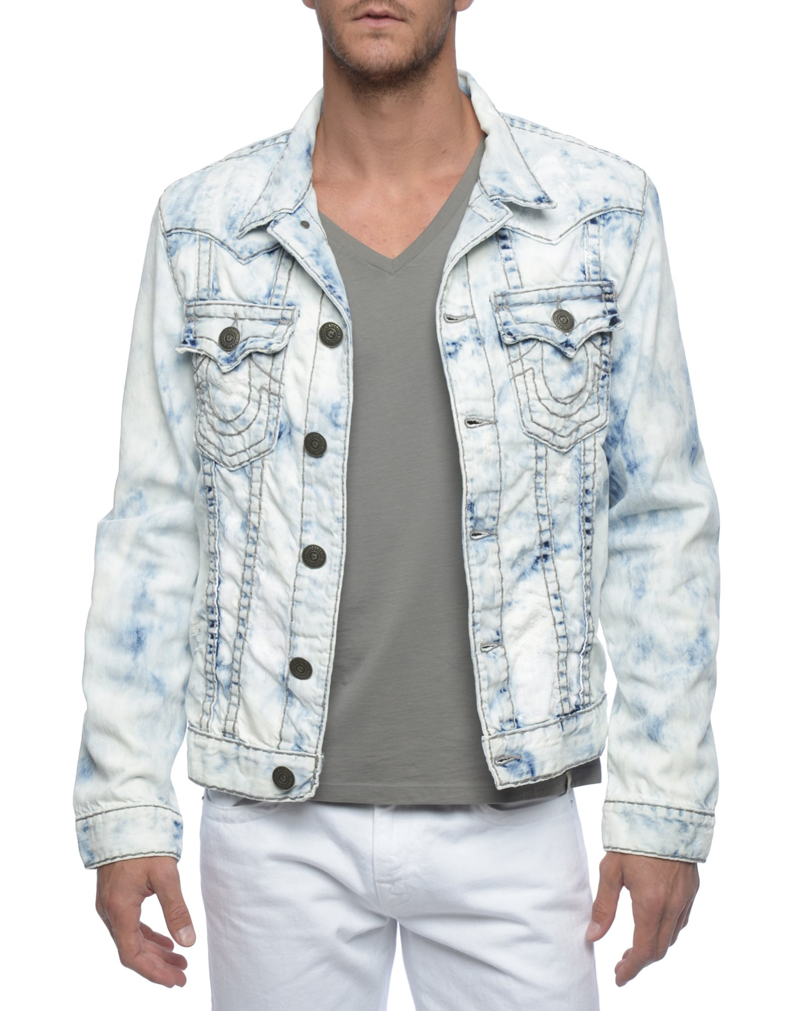 True Religion Jimmy Reef Super T Mens Denim Jacket In Blue