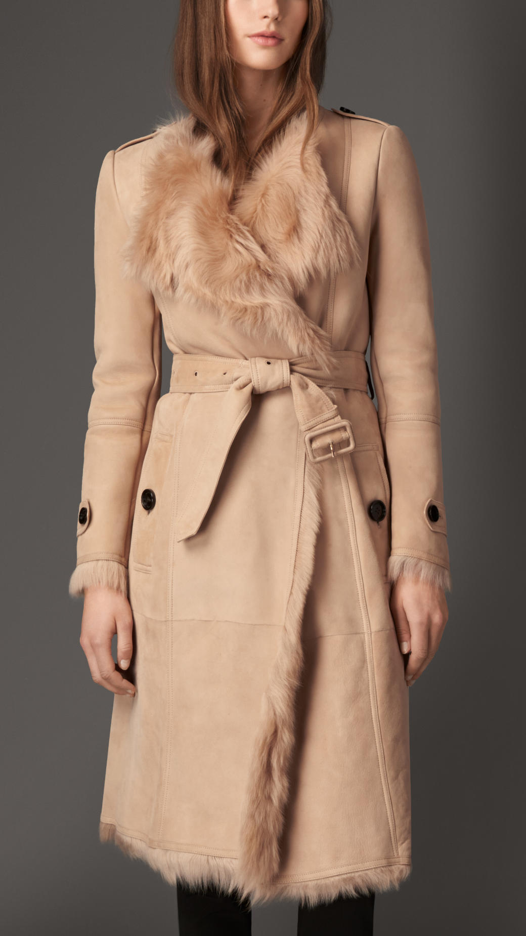 Burberry Shearling Trench Coat in Natural | Lyst