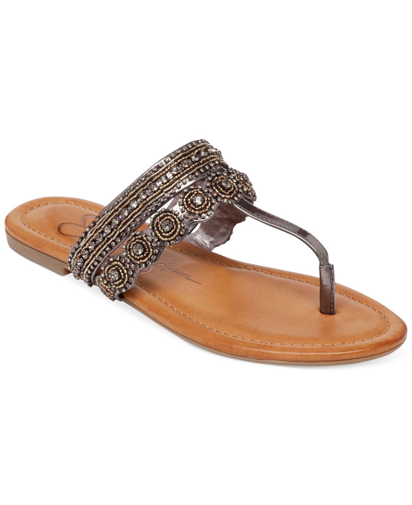 347eadb0ba863 Lyst - Jessica Simpson Roelle Flat Thong Sandals in Metallic