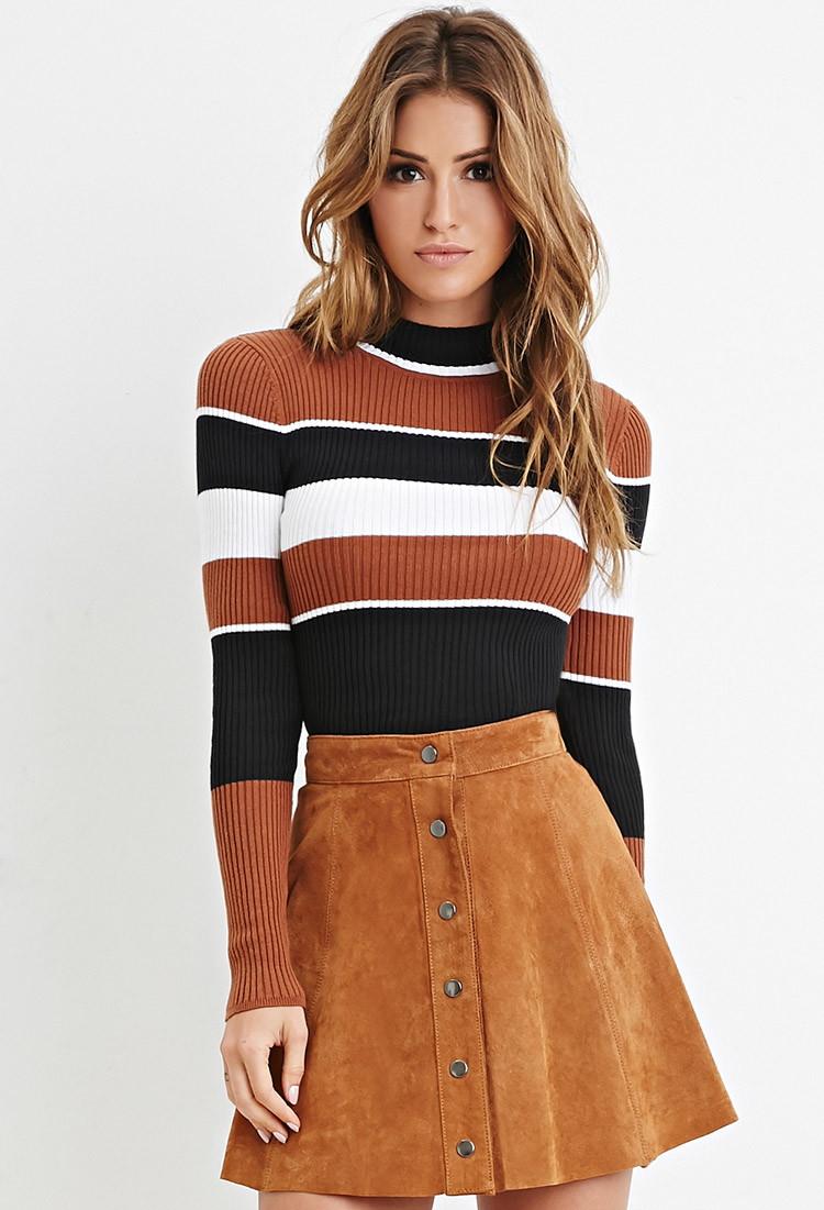 0d101fe4e854ec Lyst - Forever 21 Mock Neck Striped Sweater in Black
