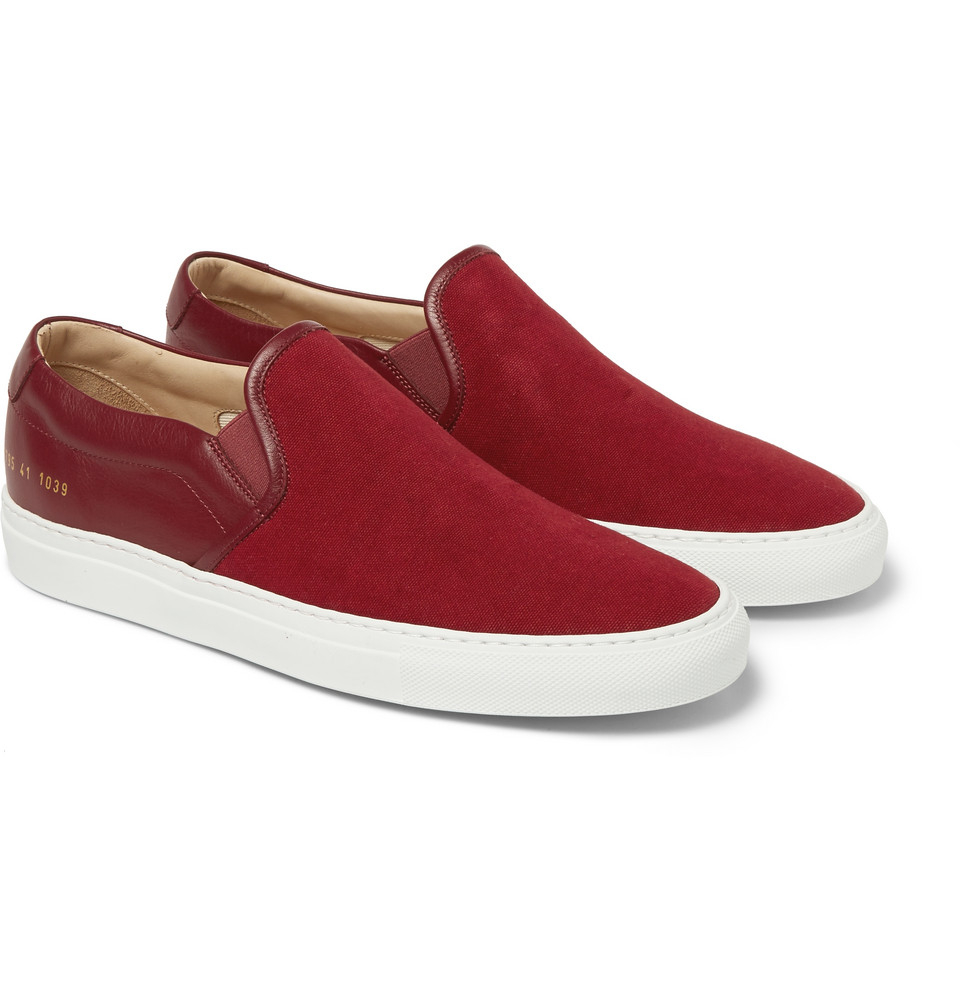 Common projects Canvas And Leather Slip-On Sneakers in Red ...