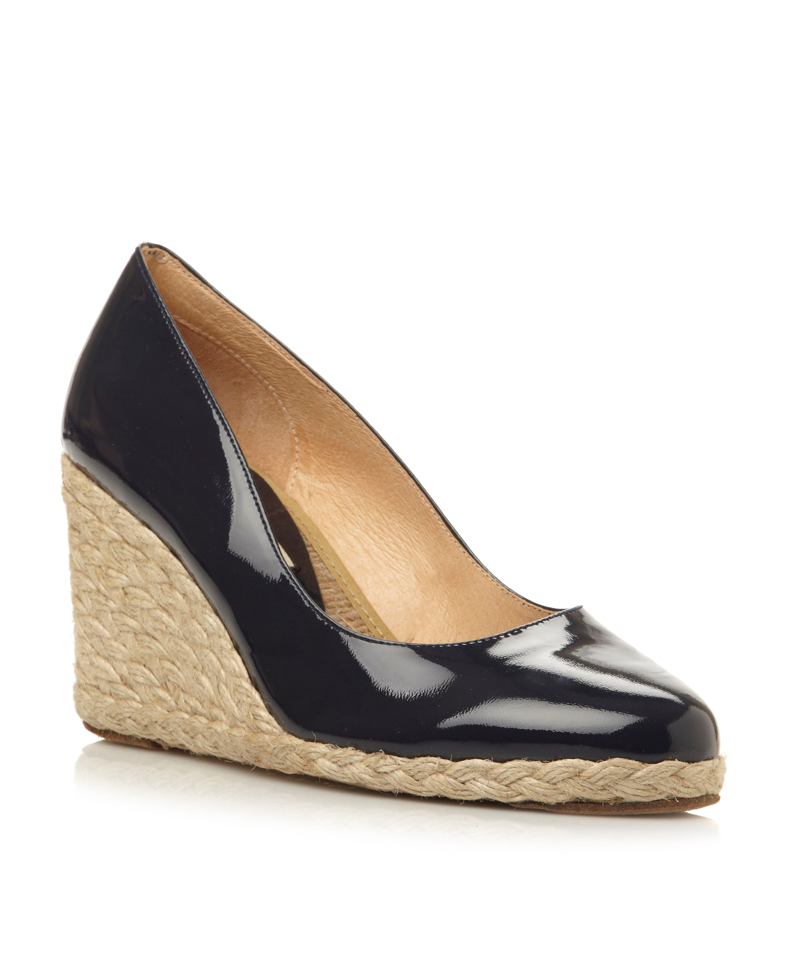 Pied A Terre Annato Patent Wedge Espadrille Court Shoes In