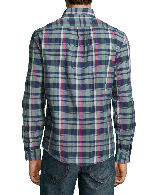 Tailor vintage madras button collar sport shirt for men lyst for Button up collared sport shirts
