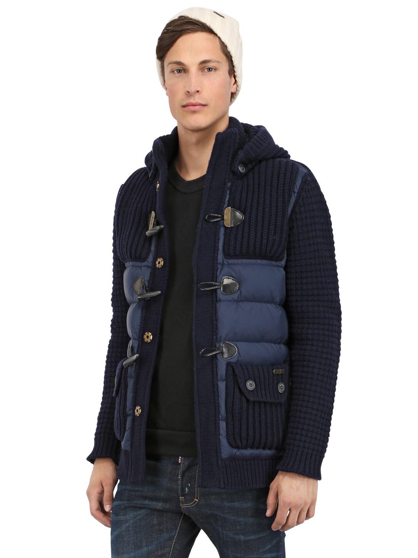 Bark Wool Knit & Nylon Duffle Coat in Blue for Men   Lyst