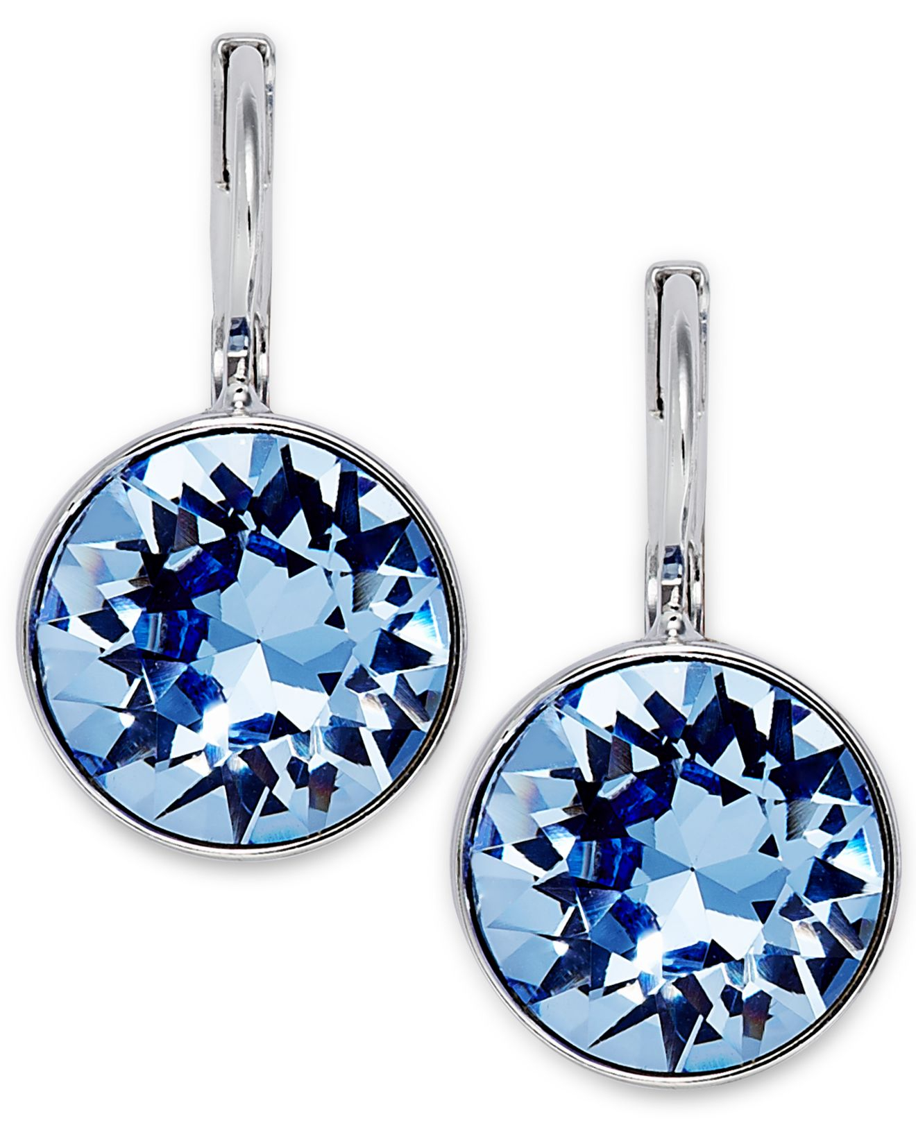 Rhodium Plated Light Shire Crystal Drop Earrings