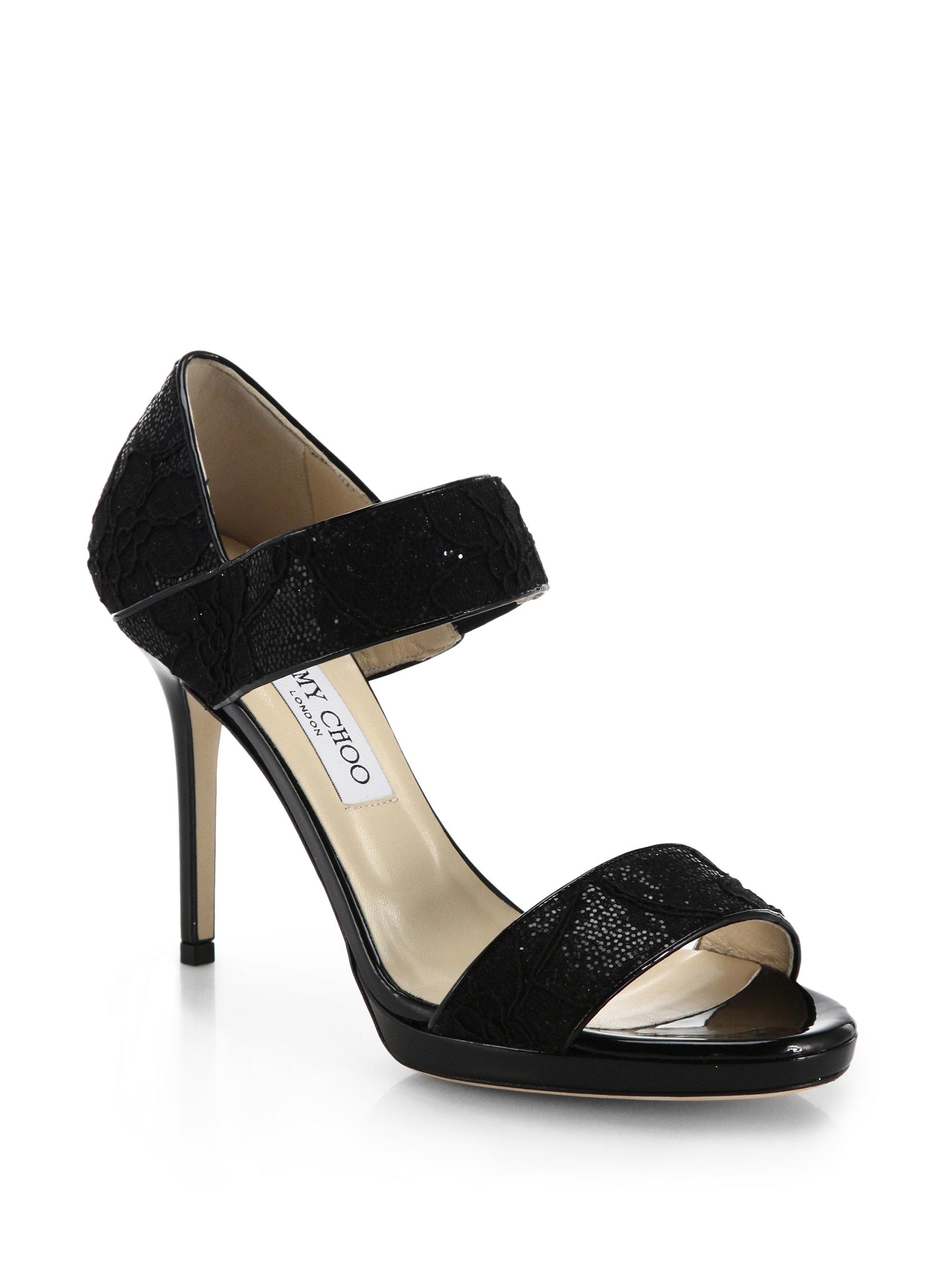 Jimmy choo Alana Lace & Glitter Wide-strap Sandals in ...