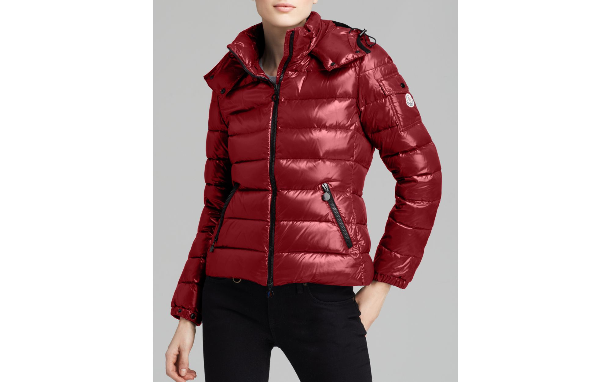 89df5fd51 Moncler Red Bady Lacquer Hooded Short Down Coat