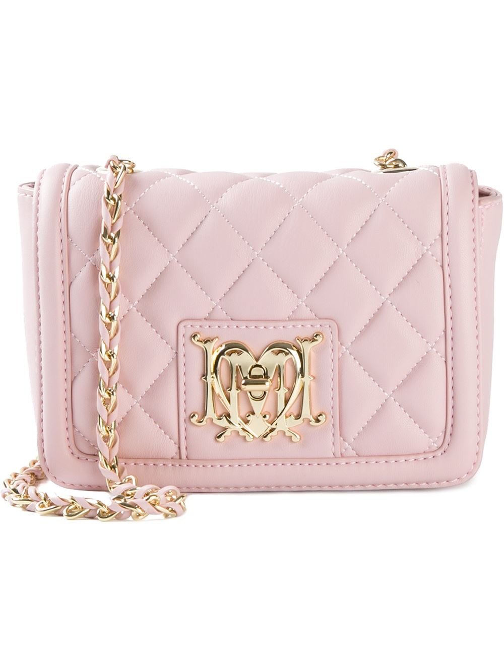 2620df7956d Love Moschino Quilted-Leather Cross-Body Bag in Pink - Lyst