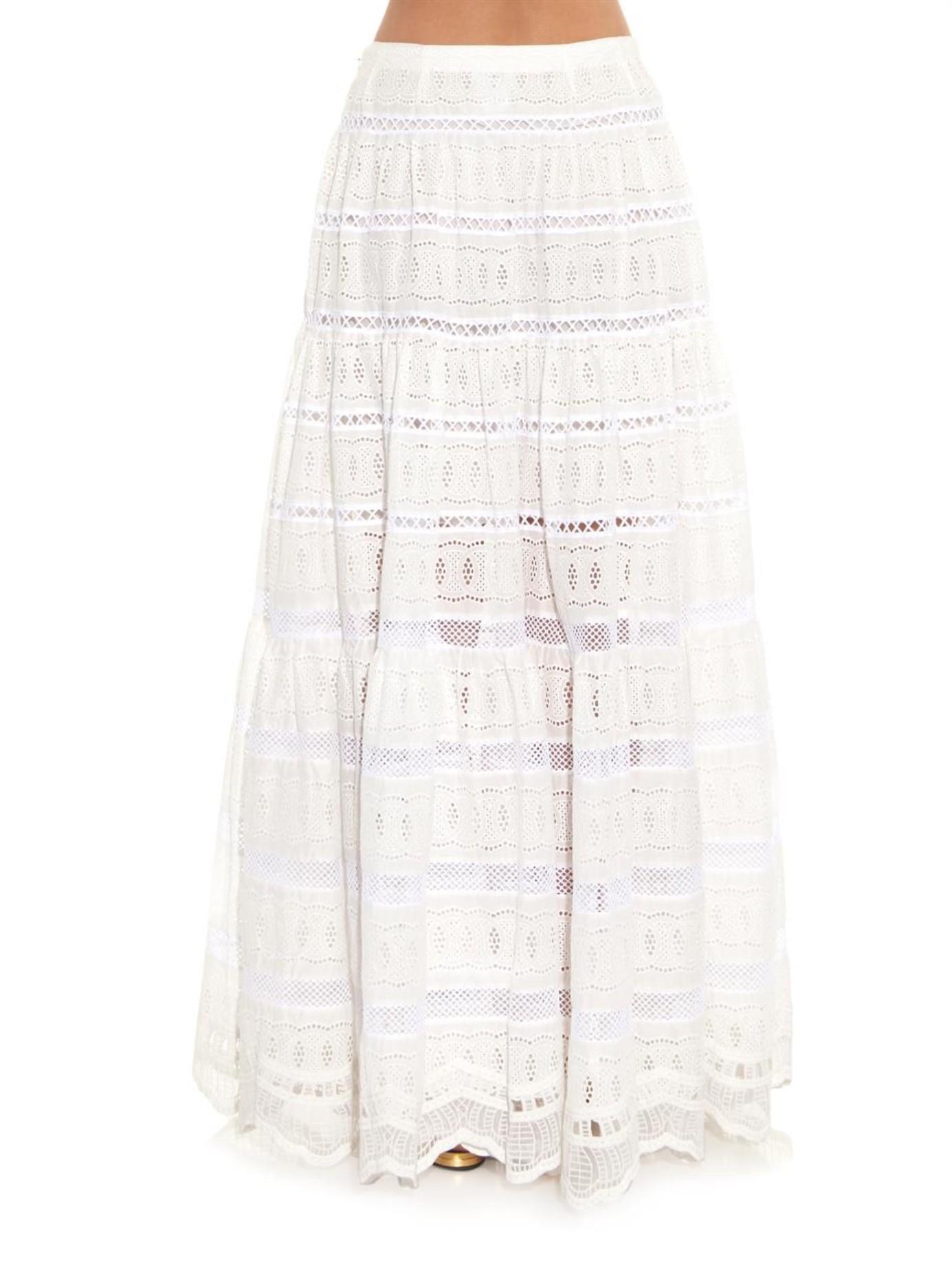 oscar de la renta broderie anglaise cotton maxi skirt in