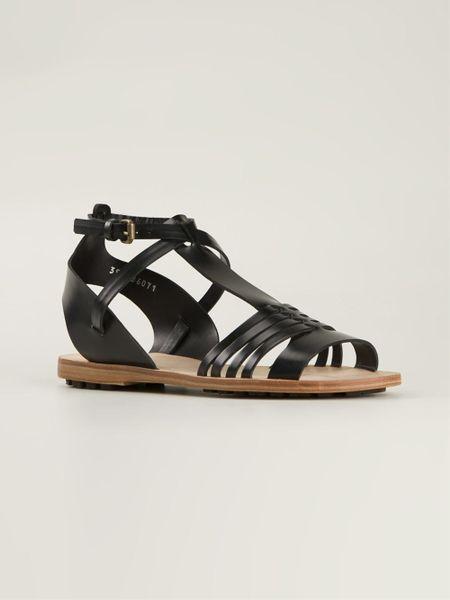 Buttero Strappy Flat Sandals In Black Lyst