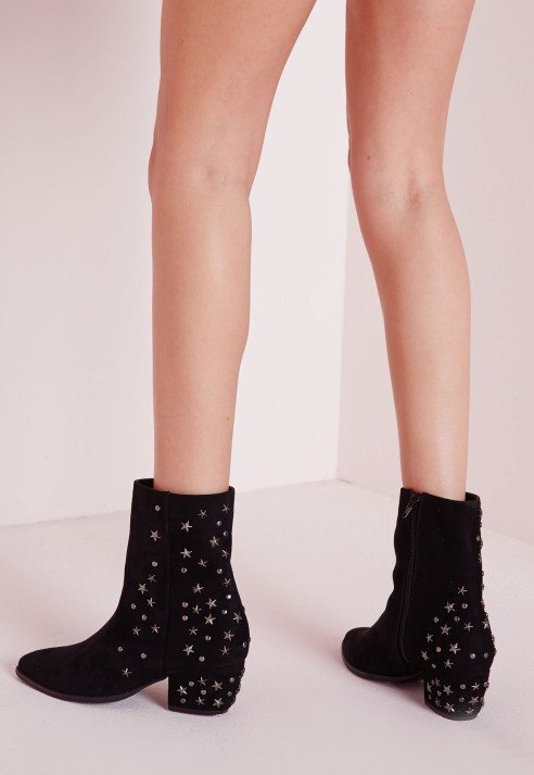Missguided Pointed Toe Star Detail Ankle Boots Black