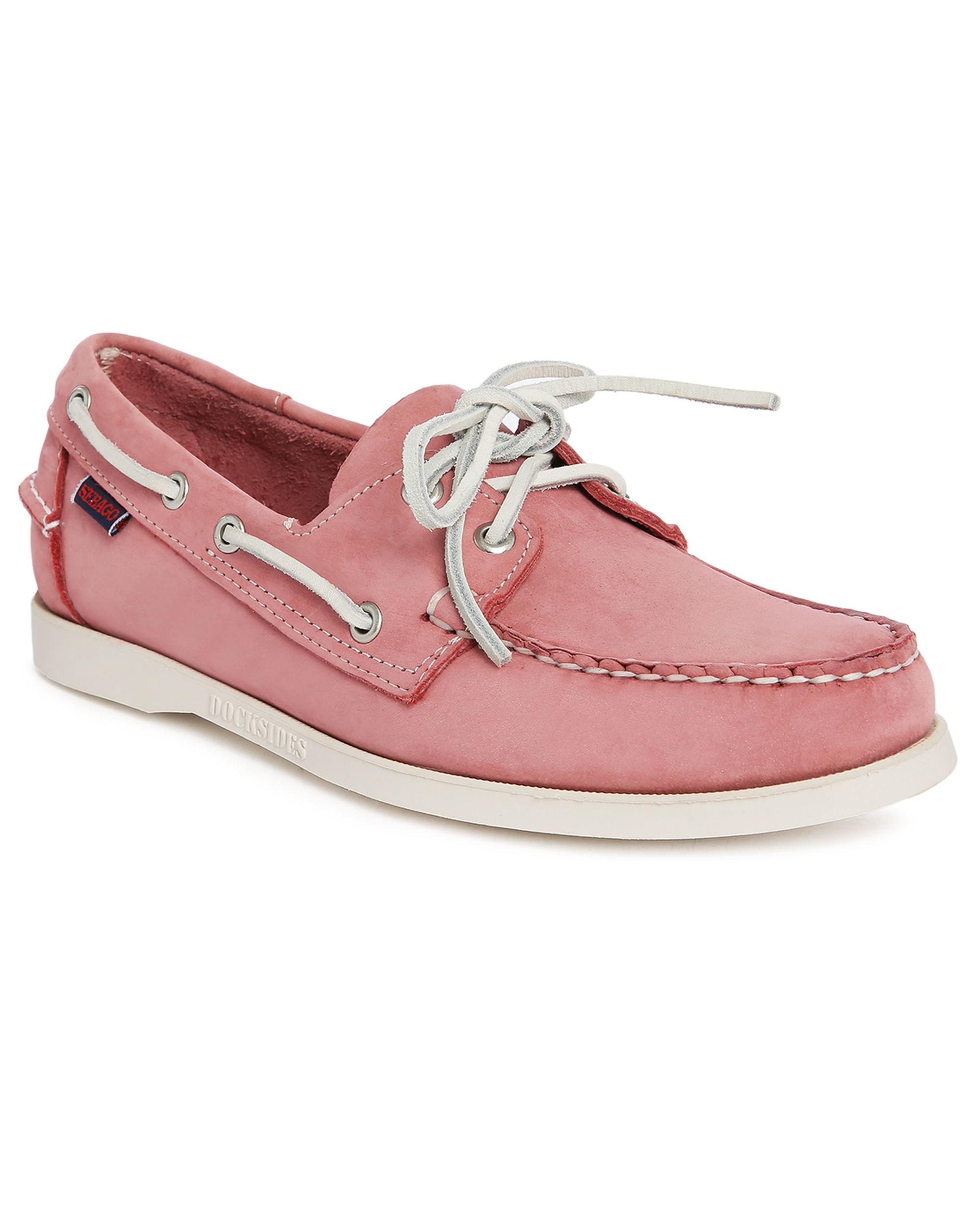 sebago pink docksides nubuck boat shoes in pink for lyst