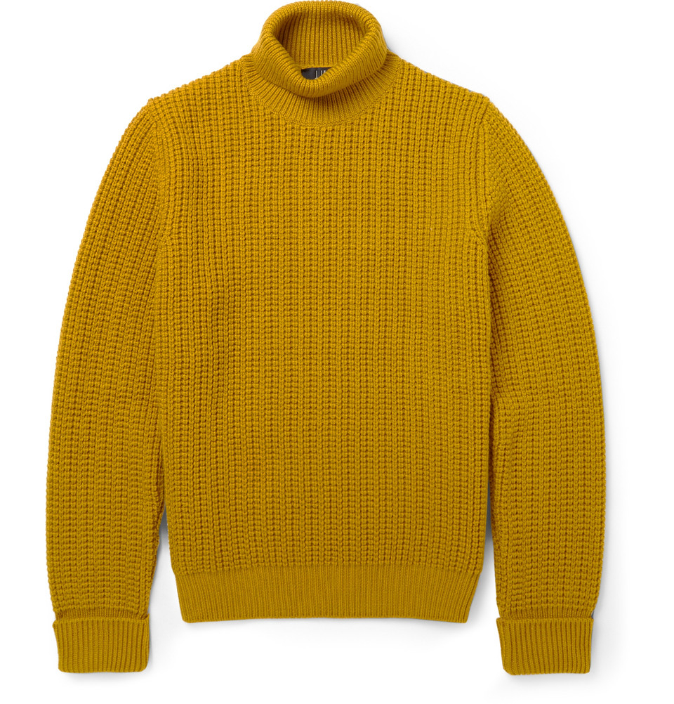 Dunhill Ribbed-Knit Rollneck Wool Sweater in Yellow for Men | Lyst