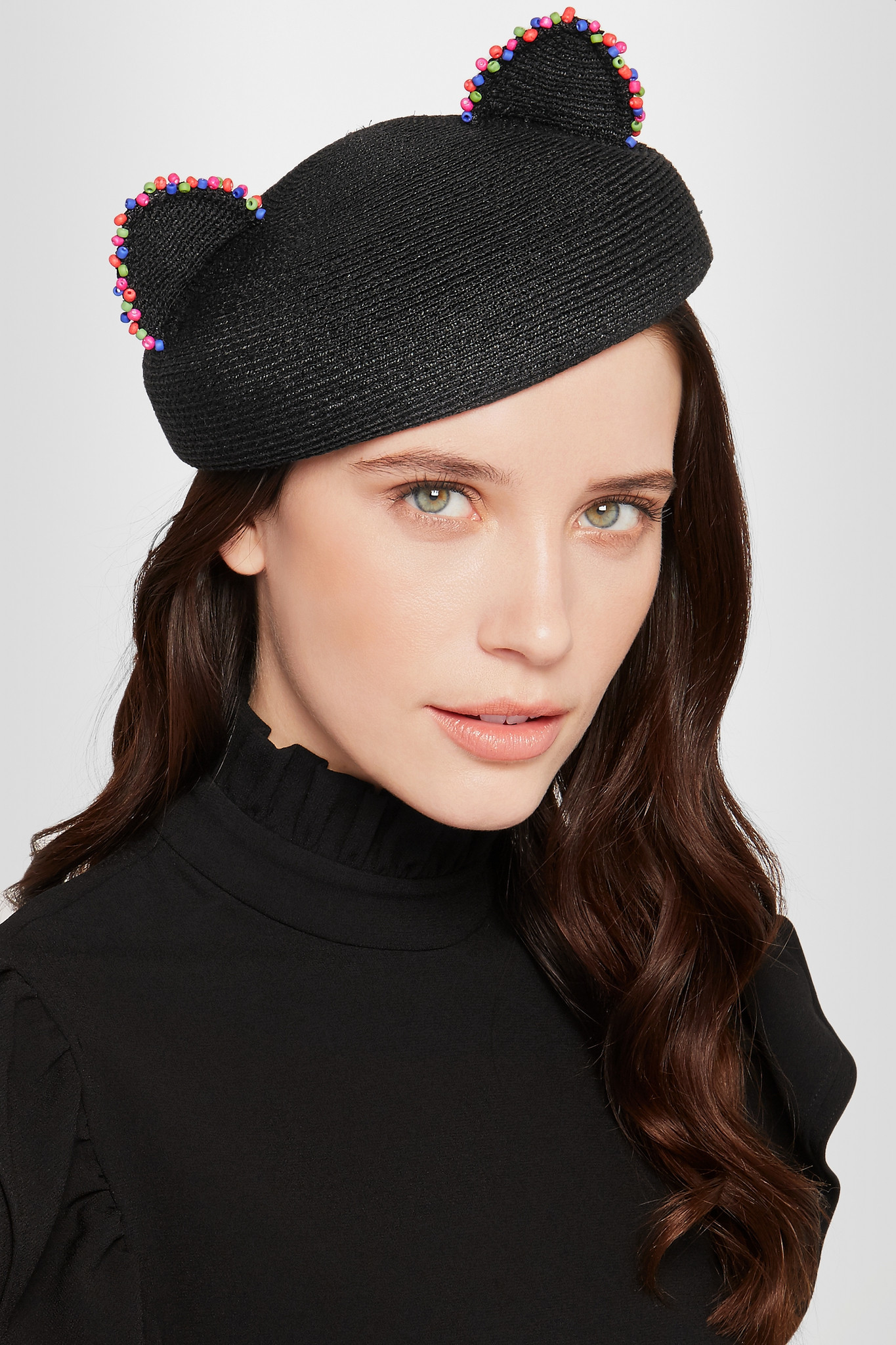 38f17964083 Eugenia Kim Caterina Beaded Woven Hemp Beret in Black - Lyst
