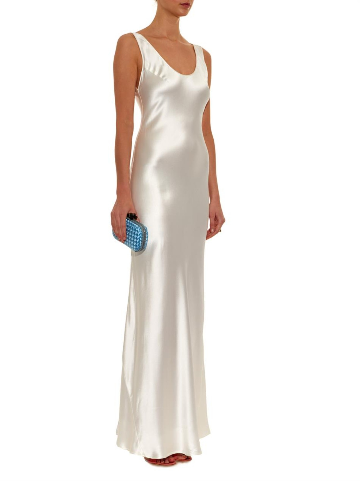ecd73b5ec8f0 Galvan London Silk Bias-Cut Gown in White - Lyst