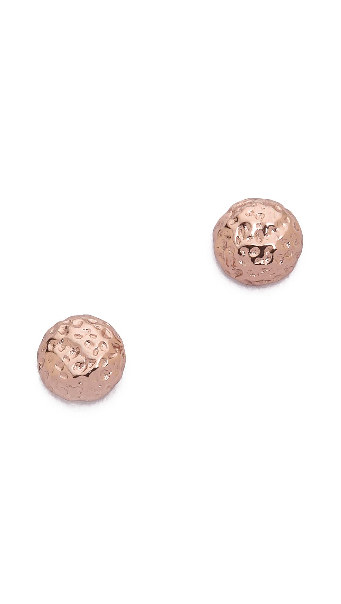 gorjana carmel tiny hammered stud earrings rose gold in. Black Bedroom Furniture Sets. Home Design Ideas