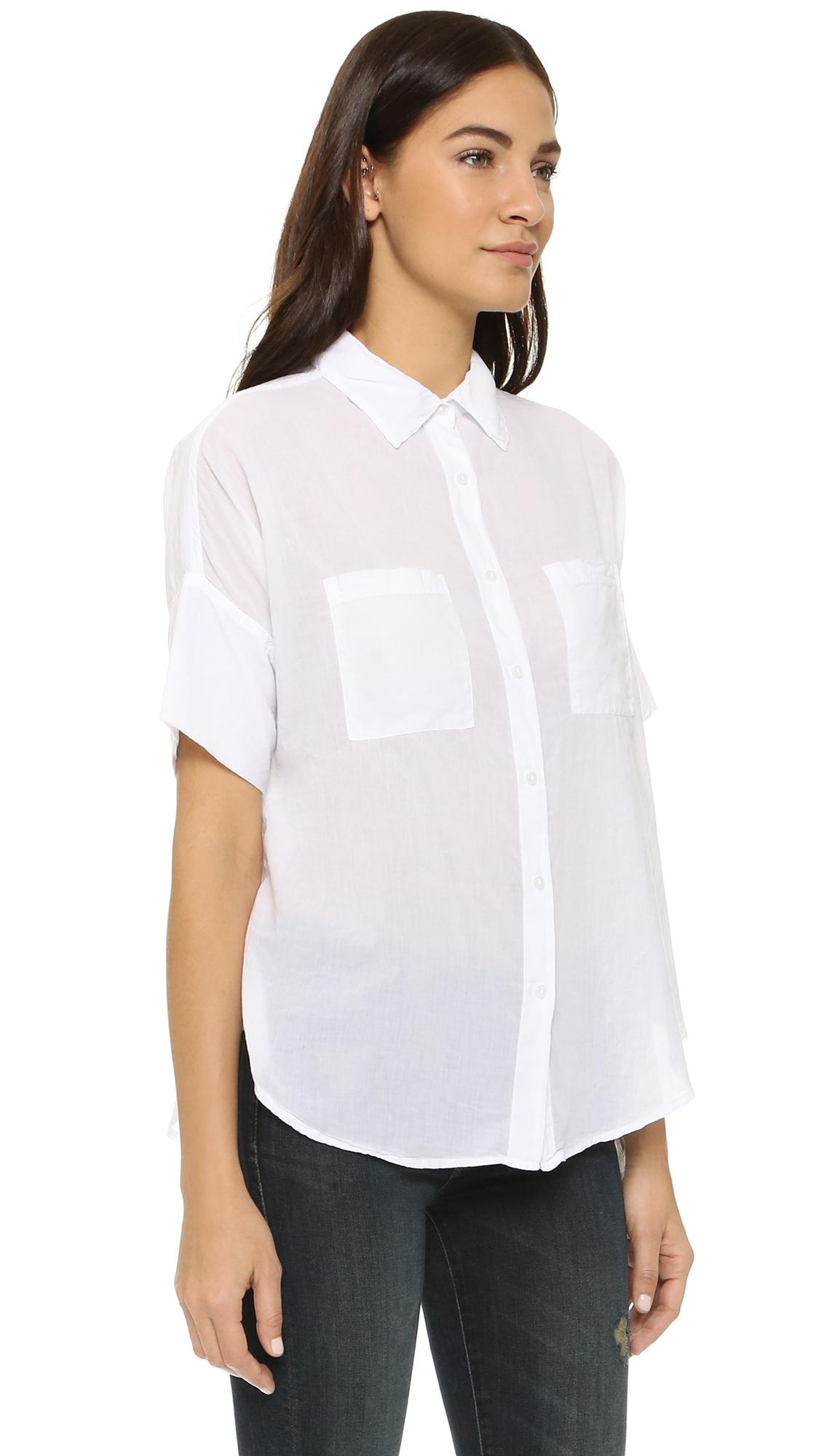 77d9b64325e Lyst - Sundry Short Sleeve Blouse in White