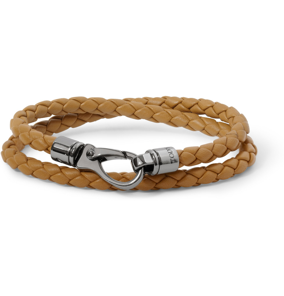tod s woven leather wrap bracelet in brown for lyst