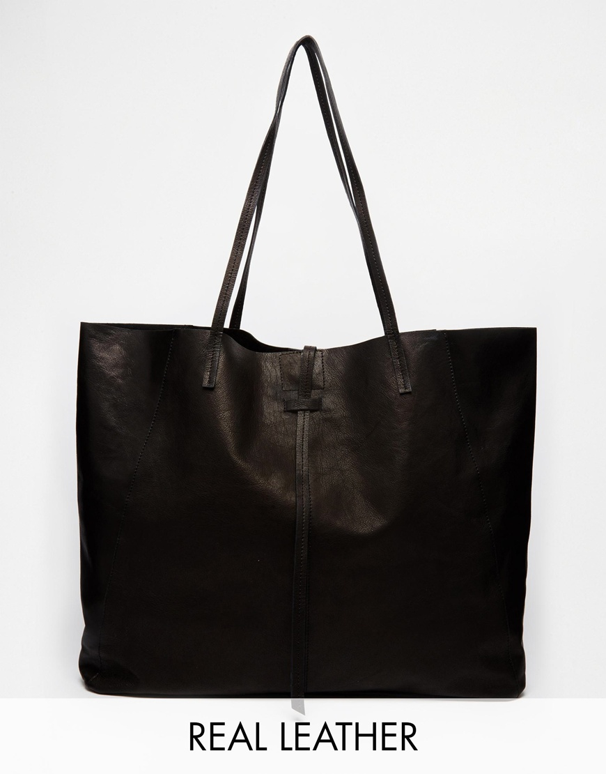 asos unlined leather shopper bag with tie detail in black
