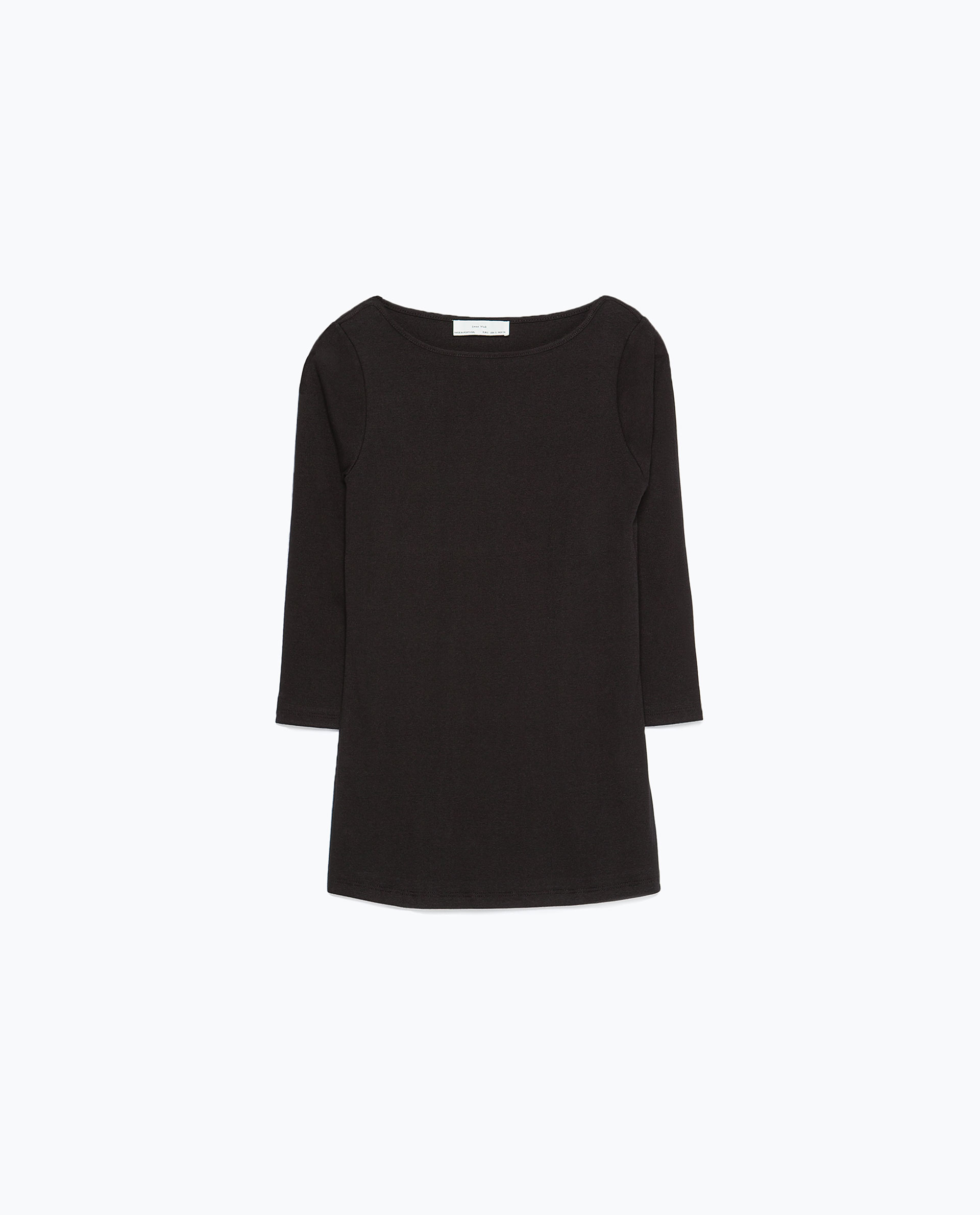 Zara organic cotton t shirt in black lyst for Zara black t shirt dress