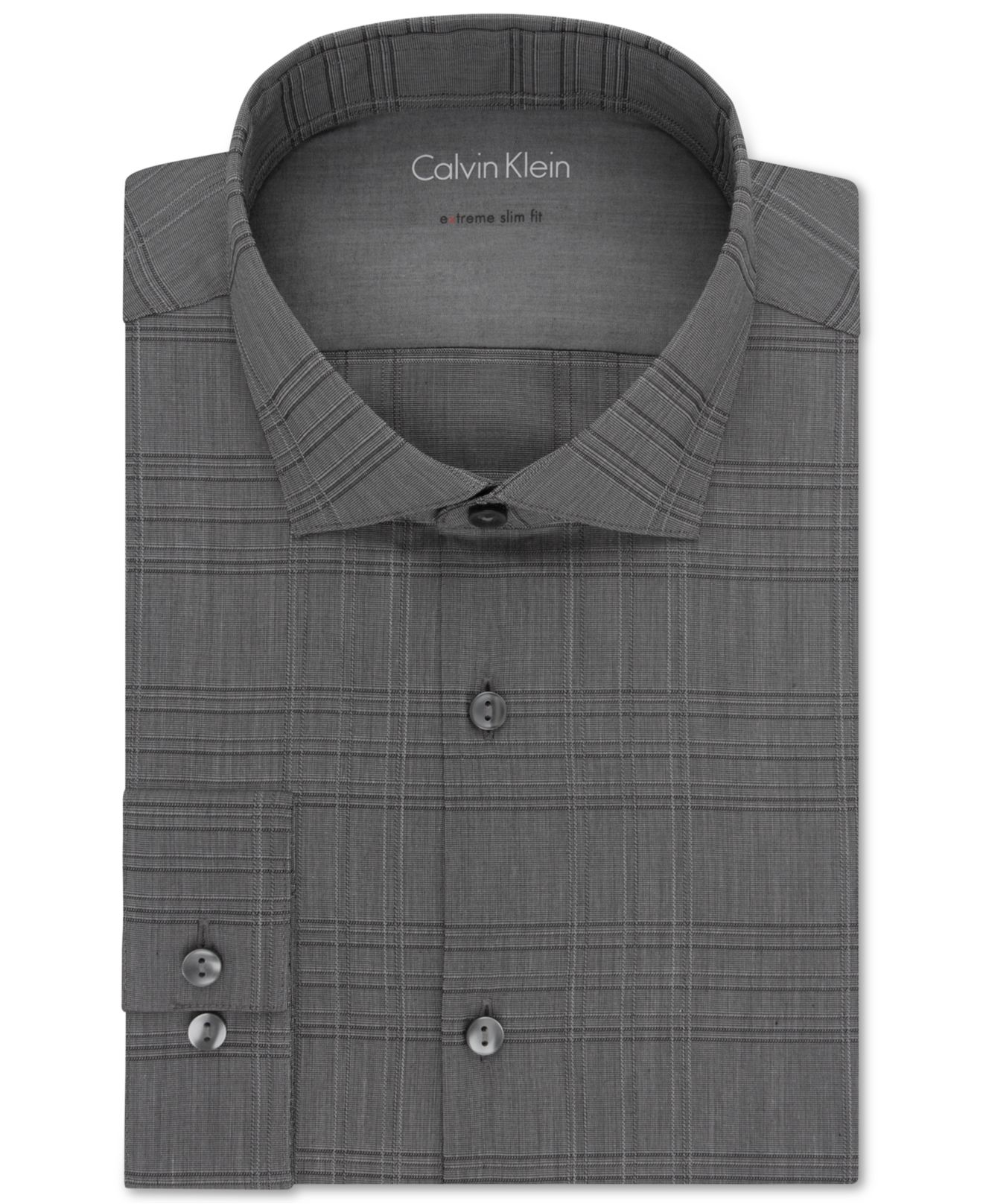 Lyst calvin klein x extra slim fit carbon check dress for Extra slim dress shirt